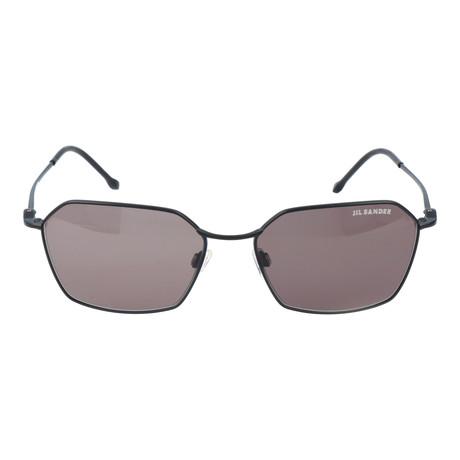 Thin Frame Pentagon Sunglasses // Black