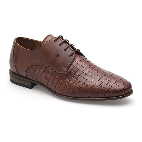 Woven Vamp Lace-Up Derby // Brown
