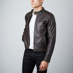Modern Biker Jacket // Dark Brown (S)