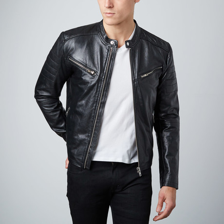 Classic Zip Leather Jacket // Black