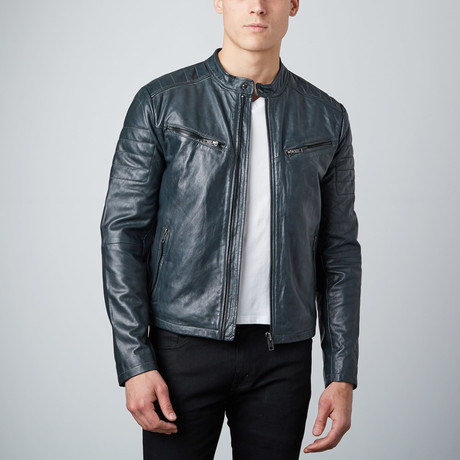 Classic Zip Leather Jacket // Grey