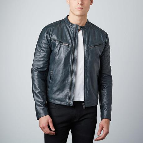 Classic Zip Leather Jacket // Grey (S)