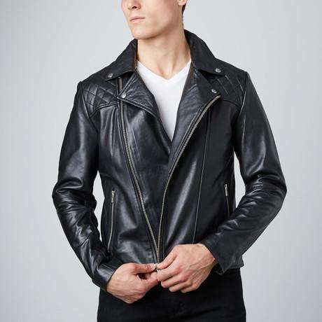 Asymmetrical Leather Jacket // Black (S)