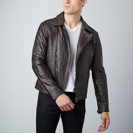 Asymmetrical Leather Jacket // Brown