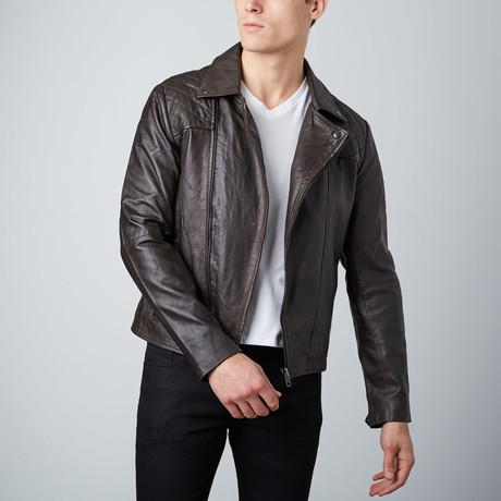 Asymmetrical Leather Jacket // Brown