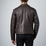 Asymmetrical Leather Jacket // Brown (S)