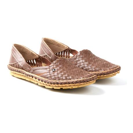 Holas Plain Stripes Sandals // Brown