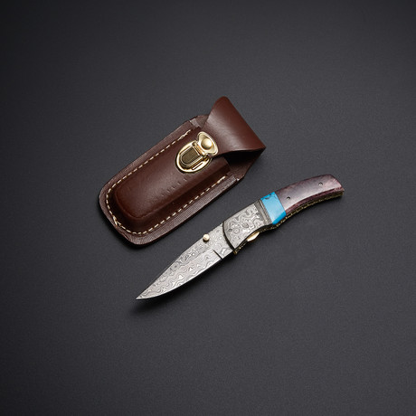 Damascus Turquoise + Red Bone Pocket Knife