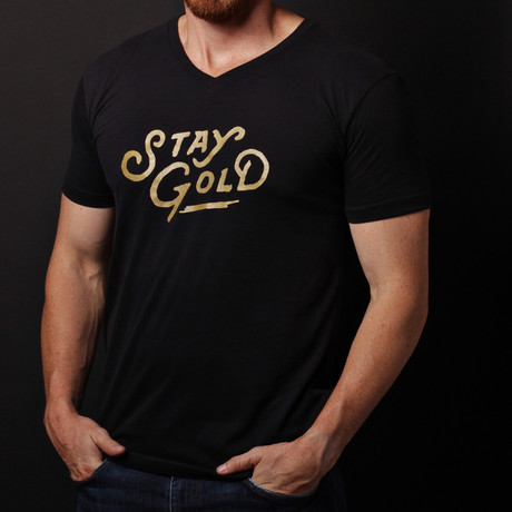 We Are All Smith // Stay Gold V-Neck T-Shirt // Black