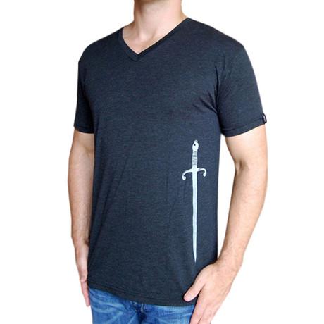 Dueling Co. // Sword V-Neck T-Shirt // Charcoal Black