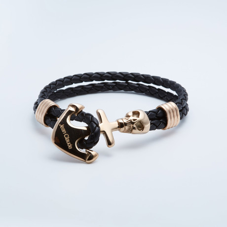 Jean Claude Jewelry // Leather + Gold Plated Skull Anchor Bracelet // Black