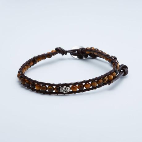 Jean Claude Jewelry // Shamballa Tiger Eye Beaded Bracelet // Brown