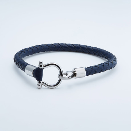 "Jean Claude Jewelry // ""D"" Clamp Leather Bracelet // Dark Gray + Silver"