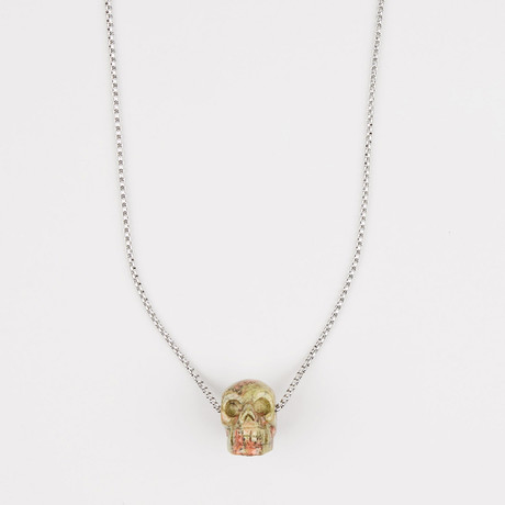 Unakite Jasper Stone Skull Pendant Necklace
