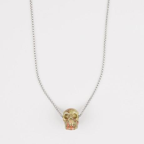 Dell Arte // Unakite Jasper Stone Skull Pendant Necklace // Multicolor