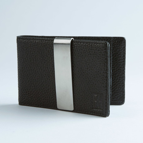 Signature Money Clip Slim Wallet // Pebble Grain Black