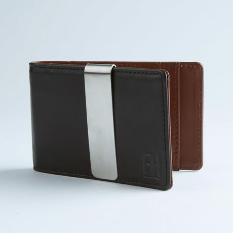 Signature Money Clip Slim Wallet // Smooth Black + Brown