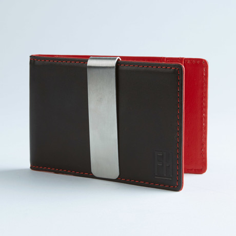 Signature Money Clip Slim Wallet // Smooth Black + Red