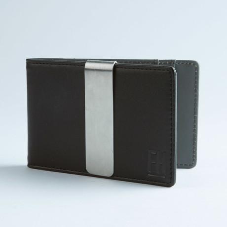 Signature Money Clip Slim Wallet // Smooth Black + Grey