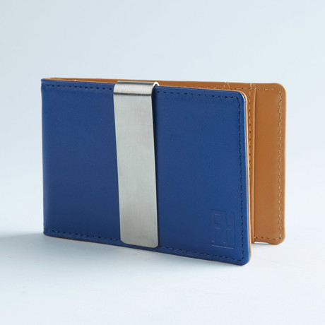 Signature Money Clip Slim Wallet // Smooth Electric Blue + Sand!
