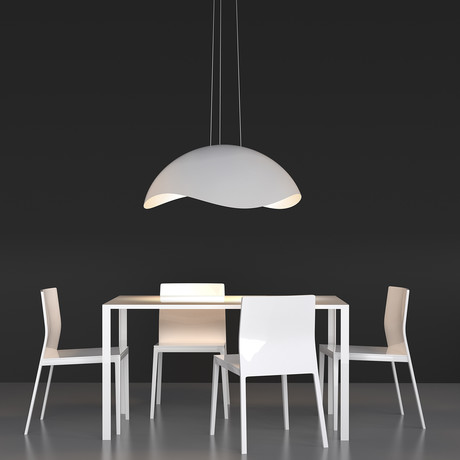 Waveforms Large Dome LED Pendant (Satin Black + White)