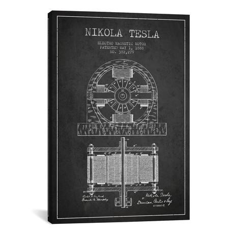 "Electro Motor Charcoal Patent Blueprint // Aged Pixel (18""W x 26""H x 0.75""D)"