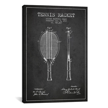 Tennis Racket Patent Blueprint // Charcoal
