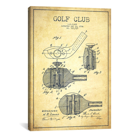 Golf Club Patent Blueprint // Vintage