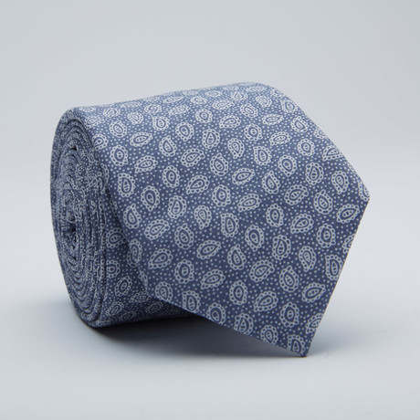 Paisley Print Skinny Tie // Light Blue