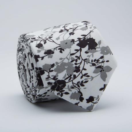 Floral Skinny Tie // Black + White