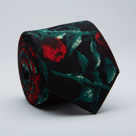 Red Rose Skinny Tie // Black