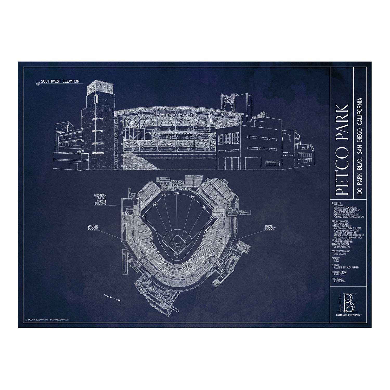 Petco park san diego padres ballpark blueprints touch of modern petco park san diego padres malvernweather Images