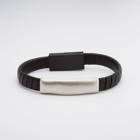 Braided Leather + Stainless Steel USB Bracelet // Black