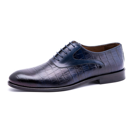 Damat Croc Textured Oxford // Navy (Euro: 39)
