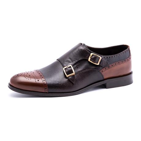 Semi-Brogue Monkstap Oxford // Black + Brown