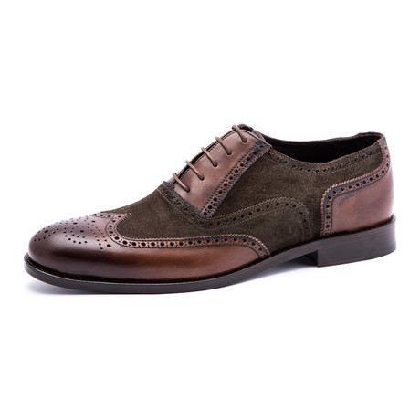 Damat Suede Wing-Tip Brogue Oxford // Brown (Euro: 39)