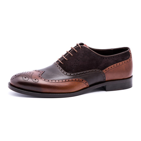 Wing-Tip Brogue Oxford // Brown + Black (Euro: 39)