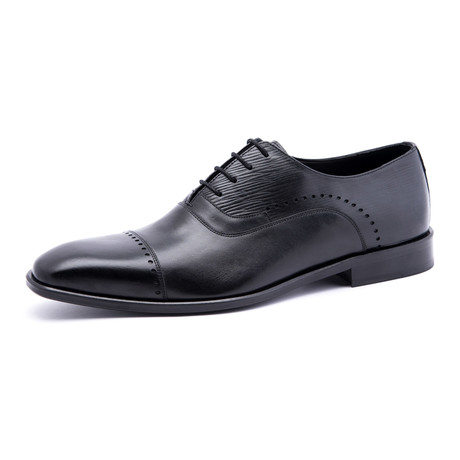 Damat Medallion Semi-Brogue Oxford // Black (Euro: 39)