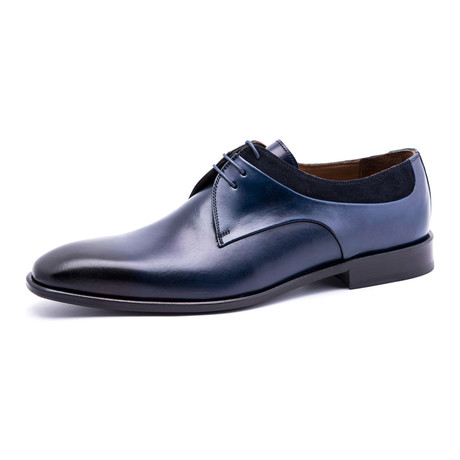 Textured Plain-Toe Derby // Navy