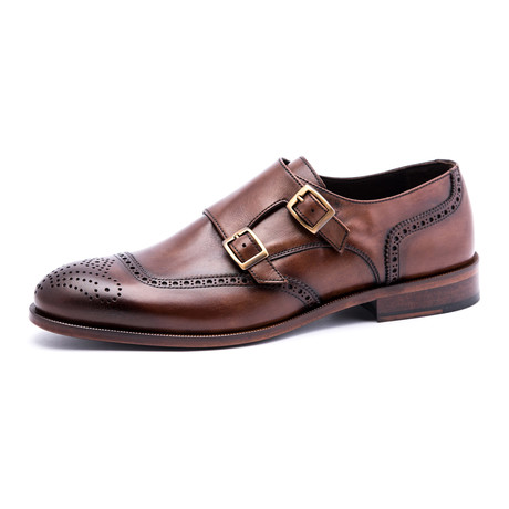 Medallion Brogue Double Monkstrap // Brown