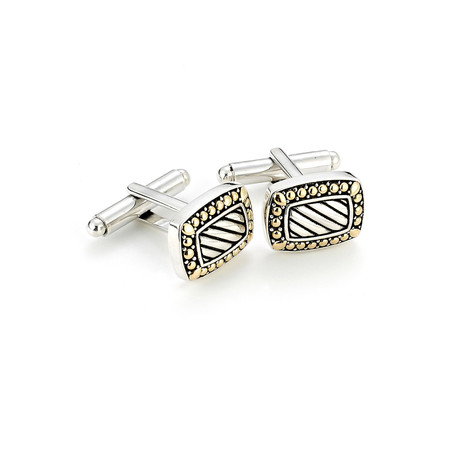 Gold Trim Sterling Silver Rectangle Cufflinks // Silver + Gold