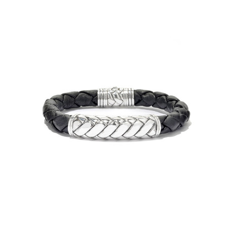 Sterling Silver Braided Leather Bracelet // Silver + Black
