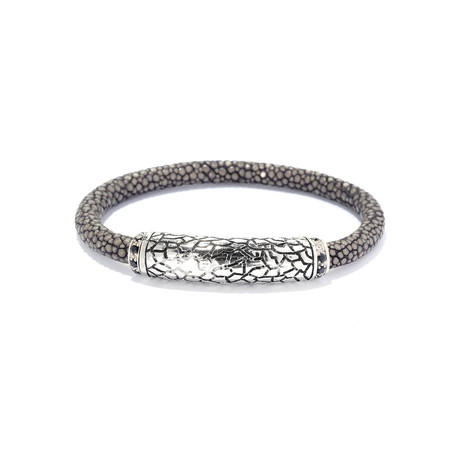 Sterling Silver Sting Ray Bracelet // Silver + Grey + Black
