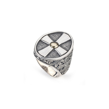 Gold Trim Sterling Silver Cross Ring // Silver + Gold