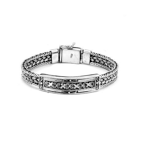 Center Bar Braided Bracelet // Silver