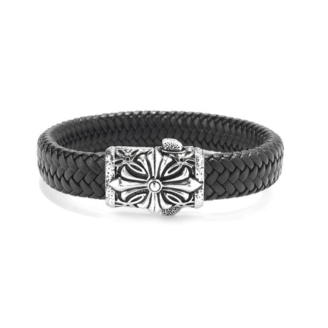 Sterling Silver Cross Braided Leather Bracelet // Silver + Black