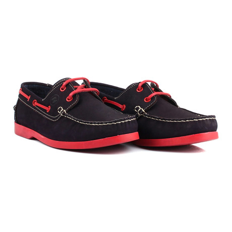 Contrast Stitch Laced Boat Shoe // Navy + Red