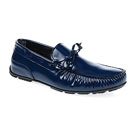 Patent Laced Moccasin Loafer // Navy