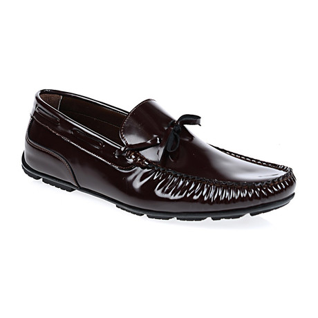 Patent Laced Moccasin Loafer // Bordeaux
