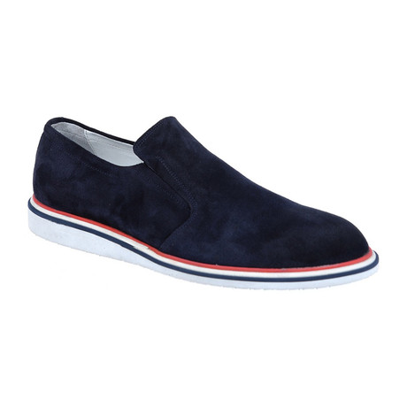 Suede Contrast Sole Slip-On Sneaker // Navy